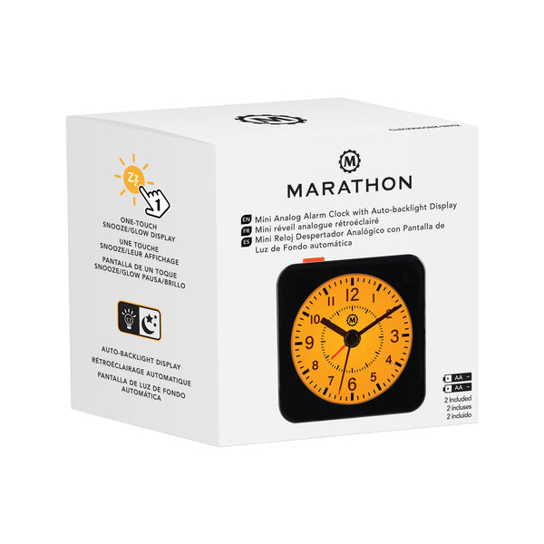 Mini Non-Ticking Analog Alarm Clock with Auto Back Light and Snooze Function - marathonwatch