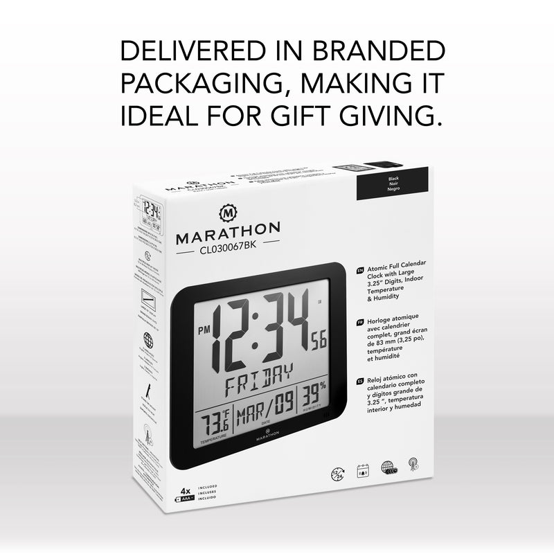 "Slim Atomic Full Calendar Clock with Large 3.25"" Digits, Indoor Temperature and Humidity - marathonwatch"