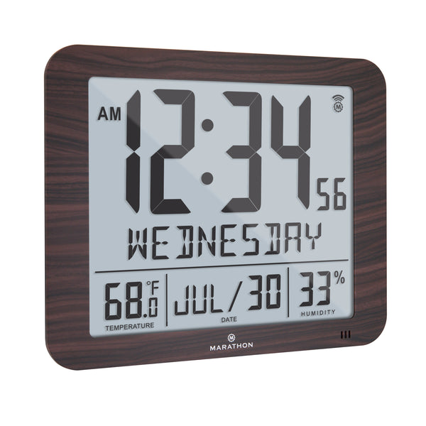 Slim Atomic Full Calendar Clock (Wood Finish) - Marathon Watch Company
