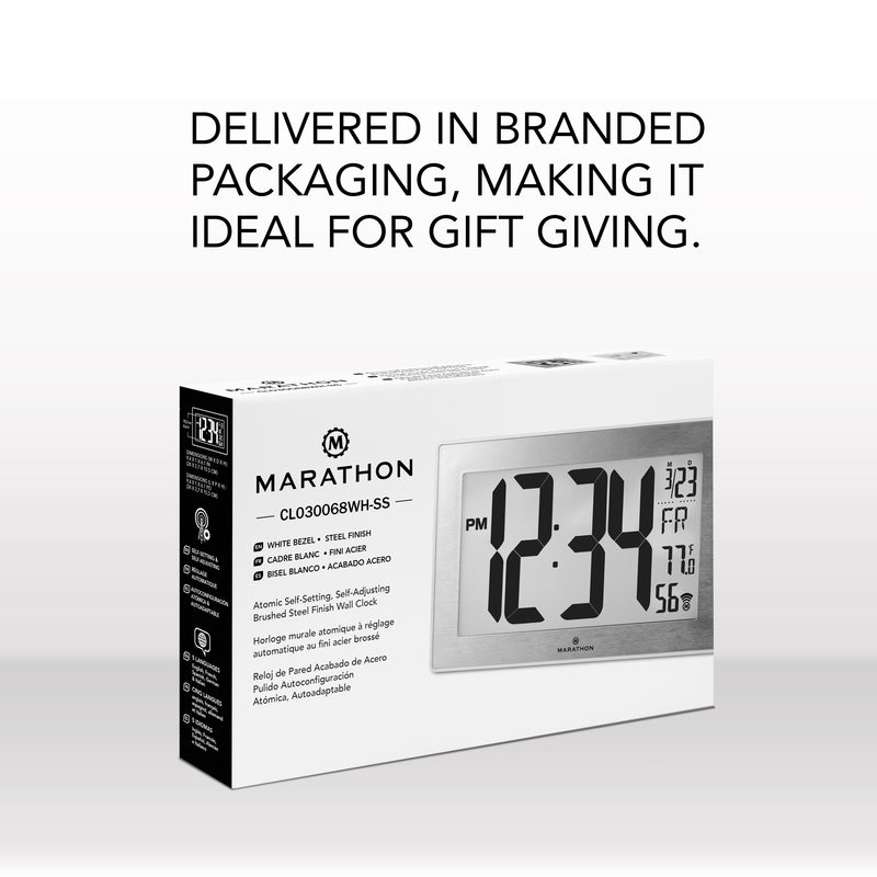 Atomic, Self-setting, Self-adjusting, Wall Clock w/ Stand & 8 timezones - marathonwatch