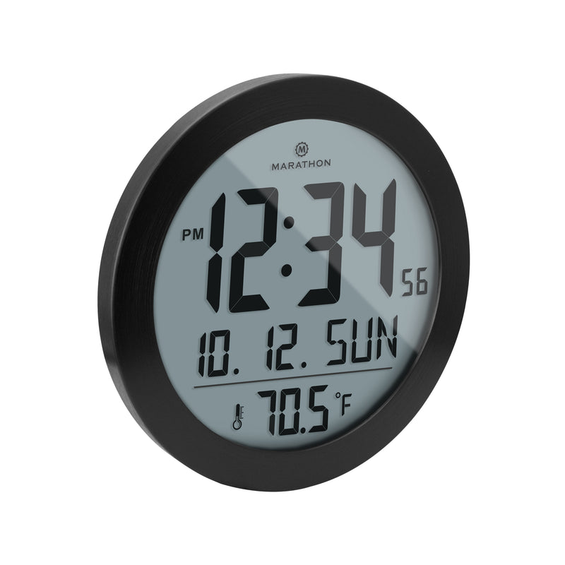 Round Digital Wall Clock with Date and Indoor Temperature. Foldout Table Stand - marathonwatch