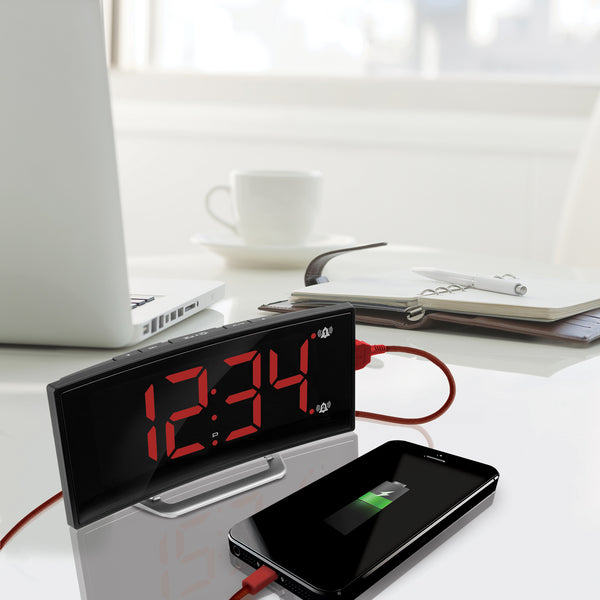 Curved Display LED Clock with Dual Alarm and 1 USB Charging Port - marathonwatch