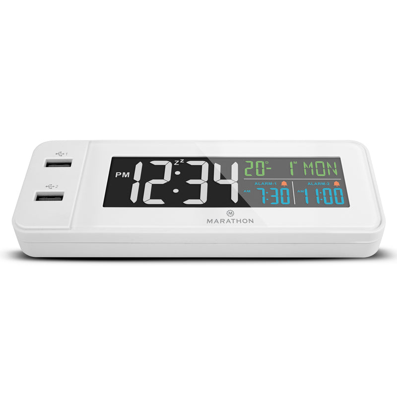 Marathon Hotel Collection 72 Color LED Display Clock with Dual Alarm and 2 Front Facing USB Fast Charging Ports