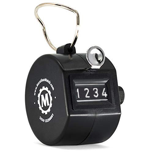 Black Handheld Tally Counter with Finger Ring for Sports, Warehouse, Laboratories, Factories and Offices - marathonwatch