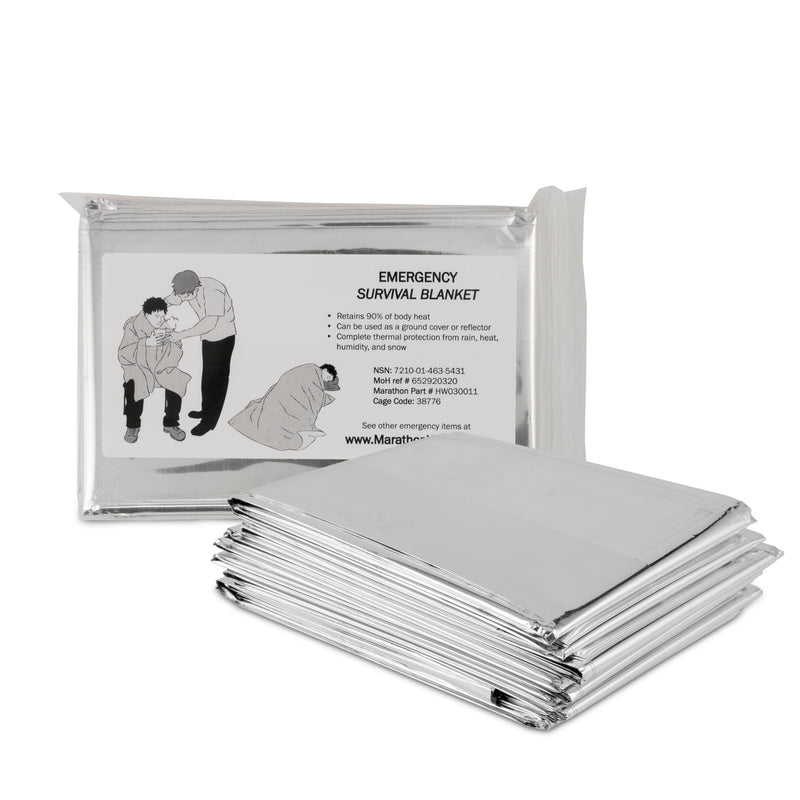 "Emergency Mylar Thermal Blankets - Military Grade - Canadian Government Issue - Used for Disaster Preparedness, Camping, Running, Hiking & First Aid Kits (56"" x 84"") - marathonwatch"