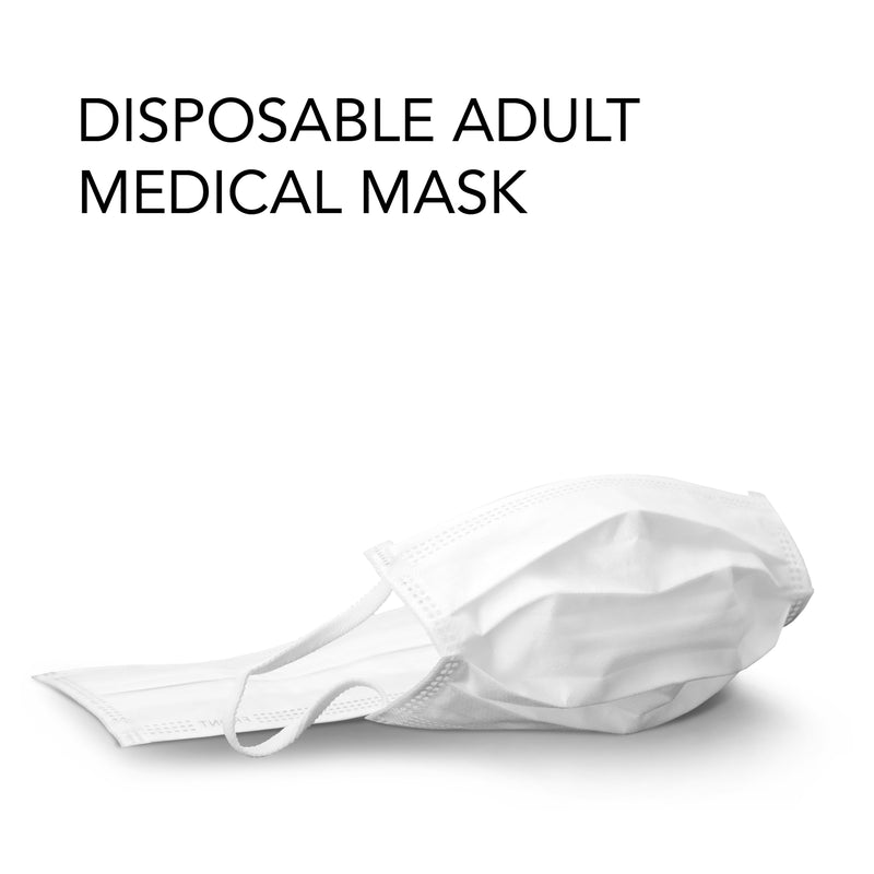 Disposable Adult Medical Face/Mouth Mask - Individually Wrapped, 3-Ply Construction, Comfort Ear Loops, FDA Approved Basic Personal Protective Equipment (PPE) - marathonwatch