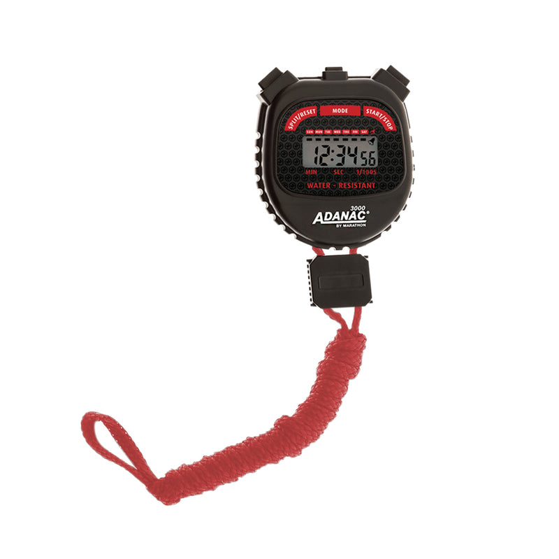 ADANAC 3000 Digital Stopwatch Timer Red/Black - marathonwatch