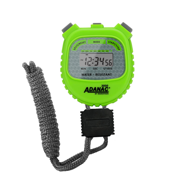 ADANAC 3000 Digital Stopwatch Timer Neon Green - marathonwatch