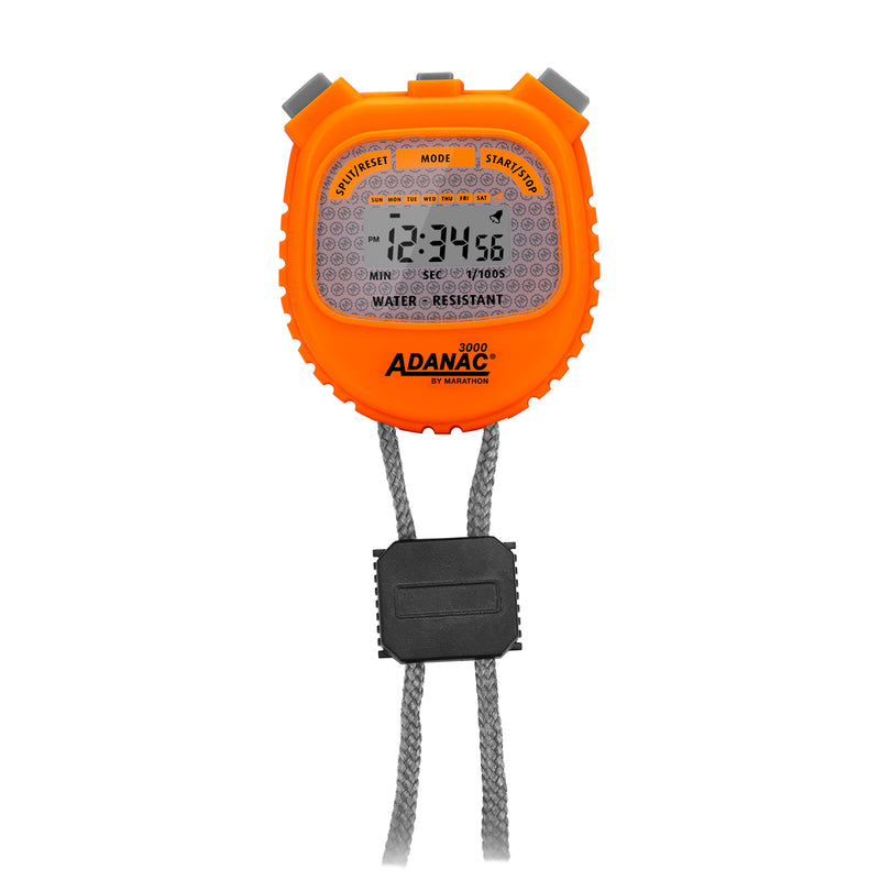 ADANAC 3000 Digital Stopwatch Timer Neon Orange - marathonwatch