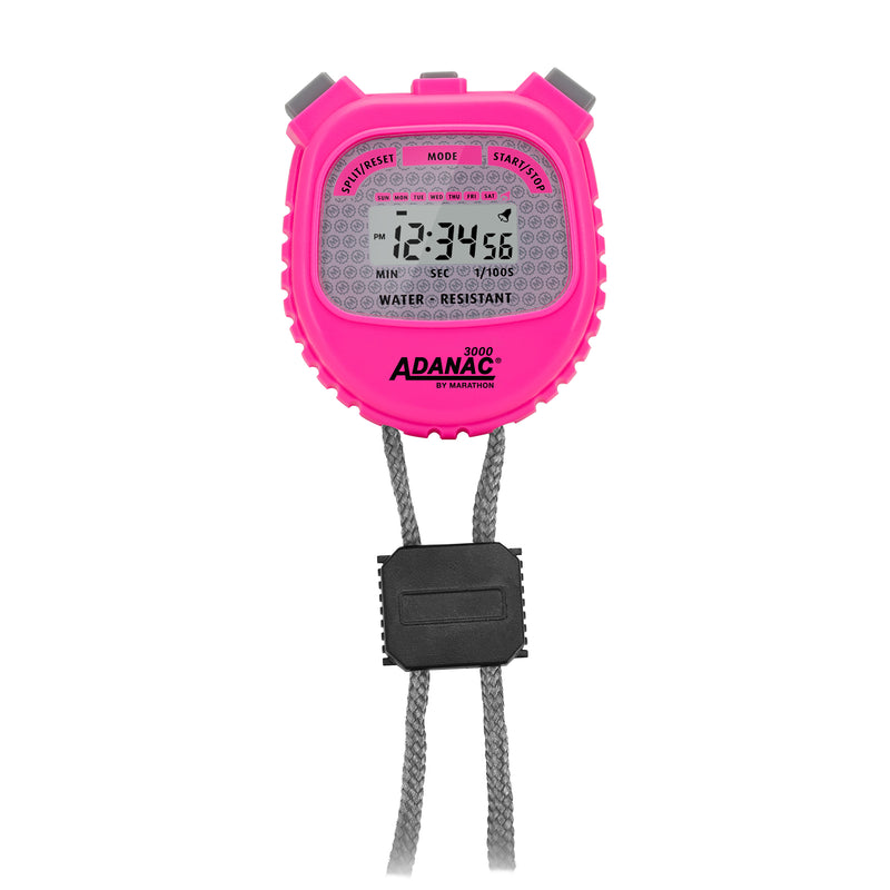 ADANAC 3000 Digital Stopwatch Timer Neon Pink - marathonwatch