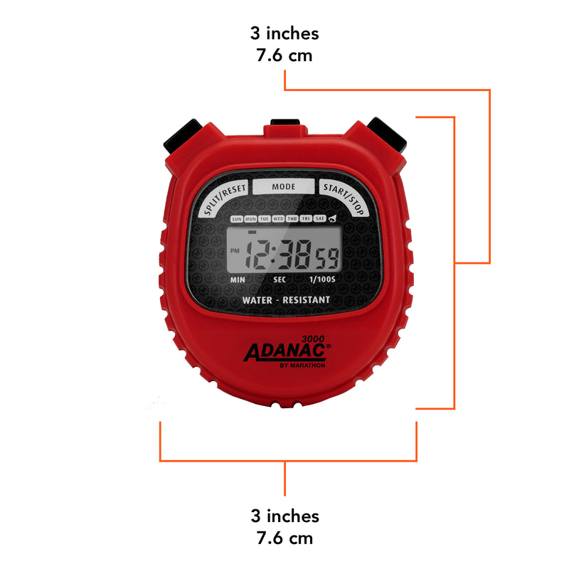 ADANAC 3000 Digital Stopwatch Timer Red - marathonwatch