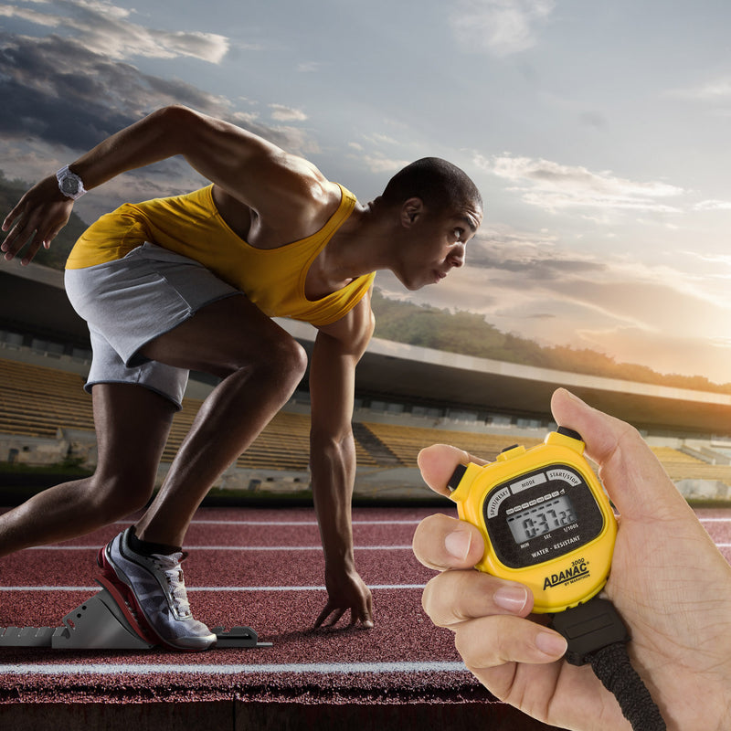ADANAC 3000 Digital Stopwatch Timer Yellow - marathonwatch