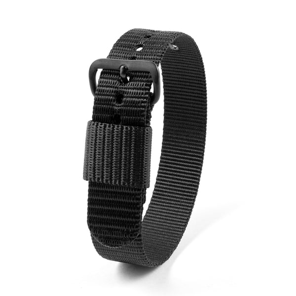 "16mm - 10"" Length - Ballistic Nylon Watch Band/Strap with Stainless Steel Buckle - marathonwatch"