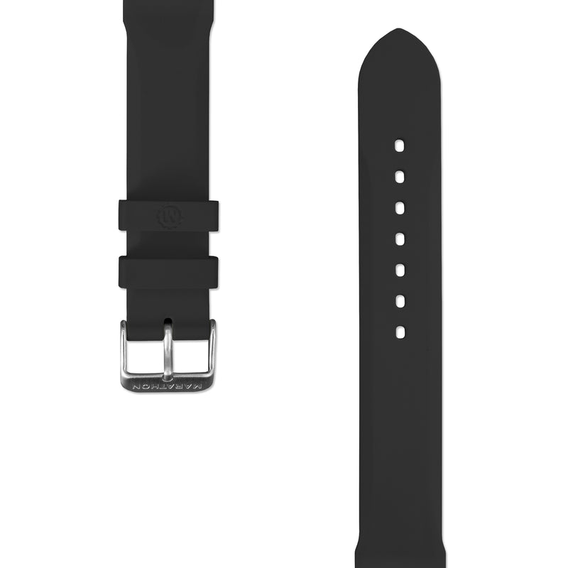 20mm Two-Piece Rubber Dive Watch Strap - Stainless Steel Hardware