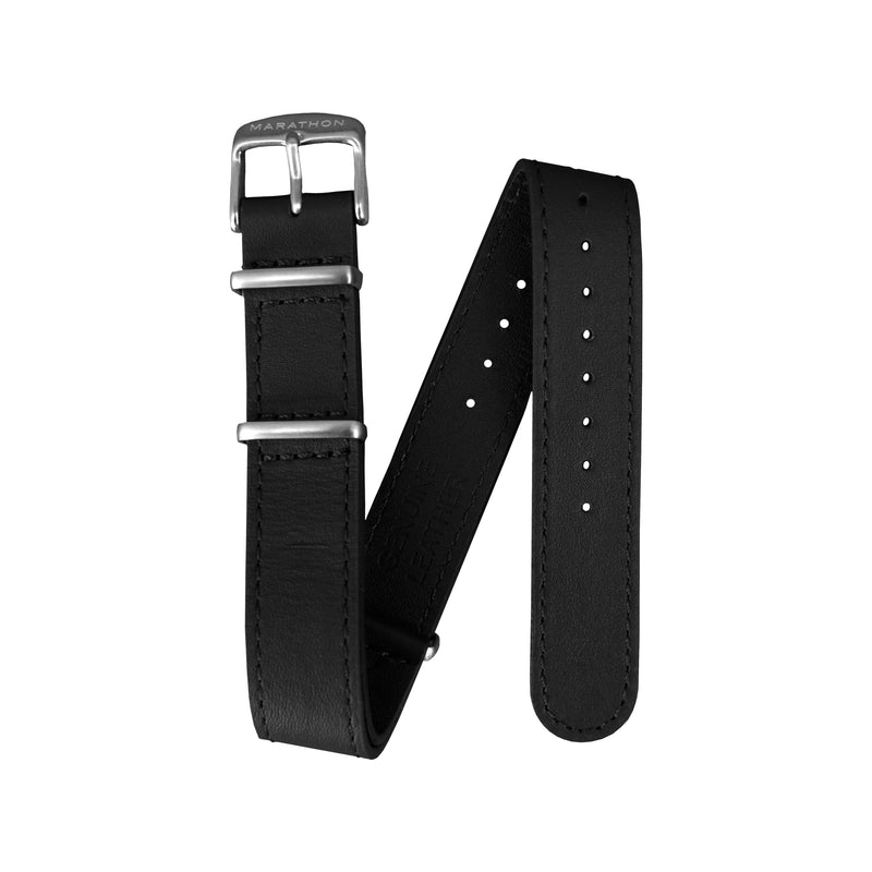 18mm Leather NATO Watch Band/Strap with Stainless Steel Square Buckle