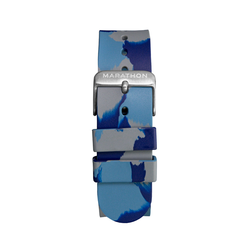 20mm Camouflage Single-Piece Rubber Watch Strap - Stainless Steel Hardware