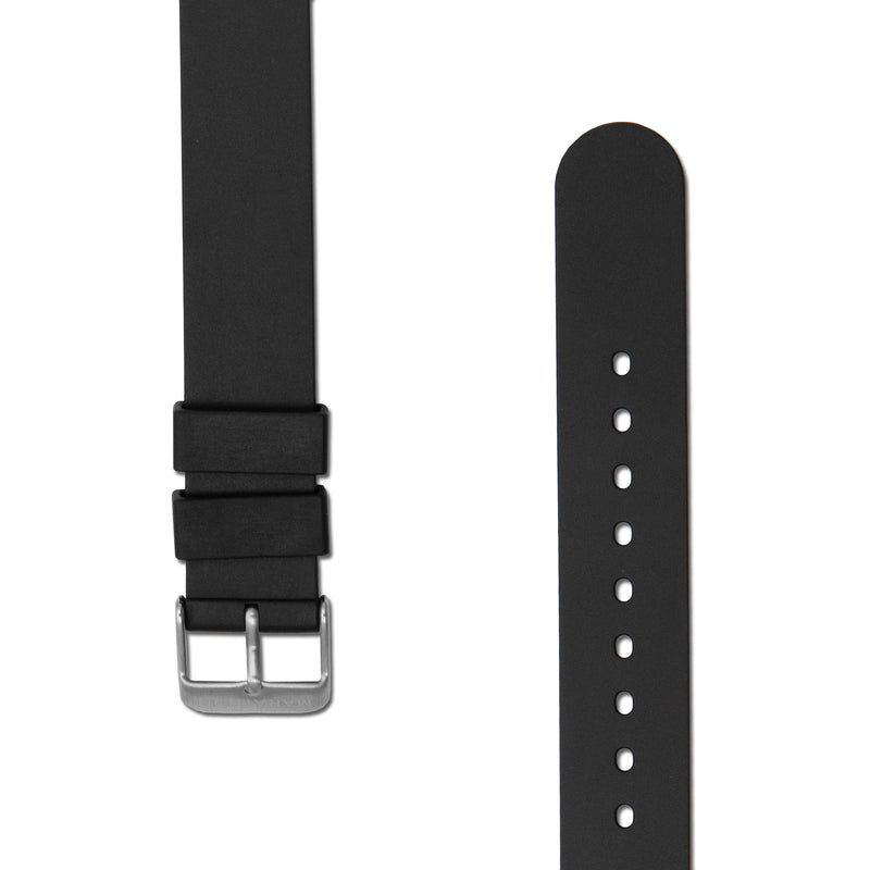 18mm Two-Piece Rubber Dive Strap - Stainless Steel Hardware