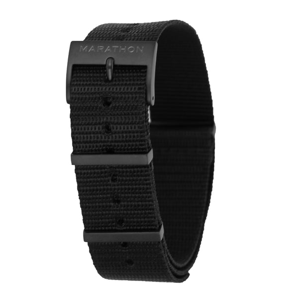 20mm Black Nylon NATO Watch Band/Strap with IP Black Stainless Steel Square Buckle - marathonwatch