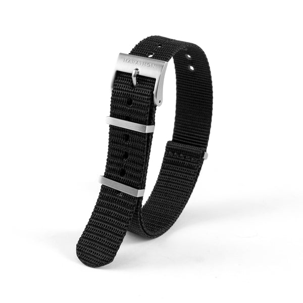 18mm Nylon NATO Watch Band/Strap with Stainless Steel Square Buckle - marathonwatch