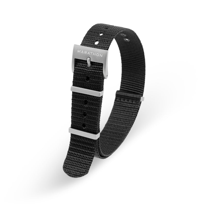 16mm Nylon NATO Watch Band/Strap with Stainless Steel Square Buckle - marathonwatch