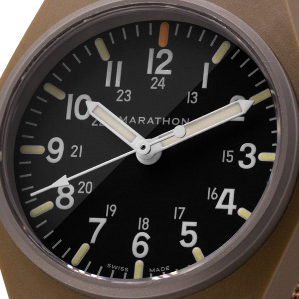 Desert Tan General Purpose Quartz with MaraGlo (GPQ) No Government Markings - 34mm - marathonwatch