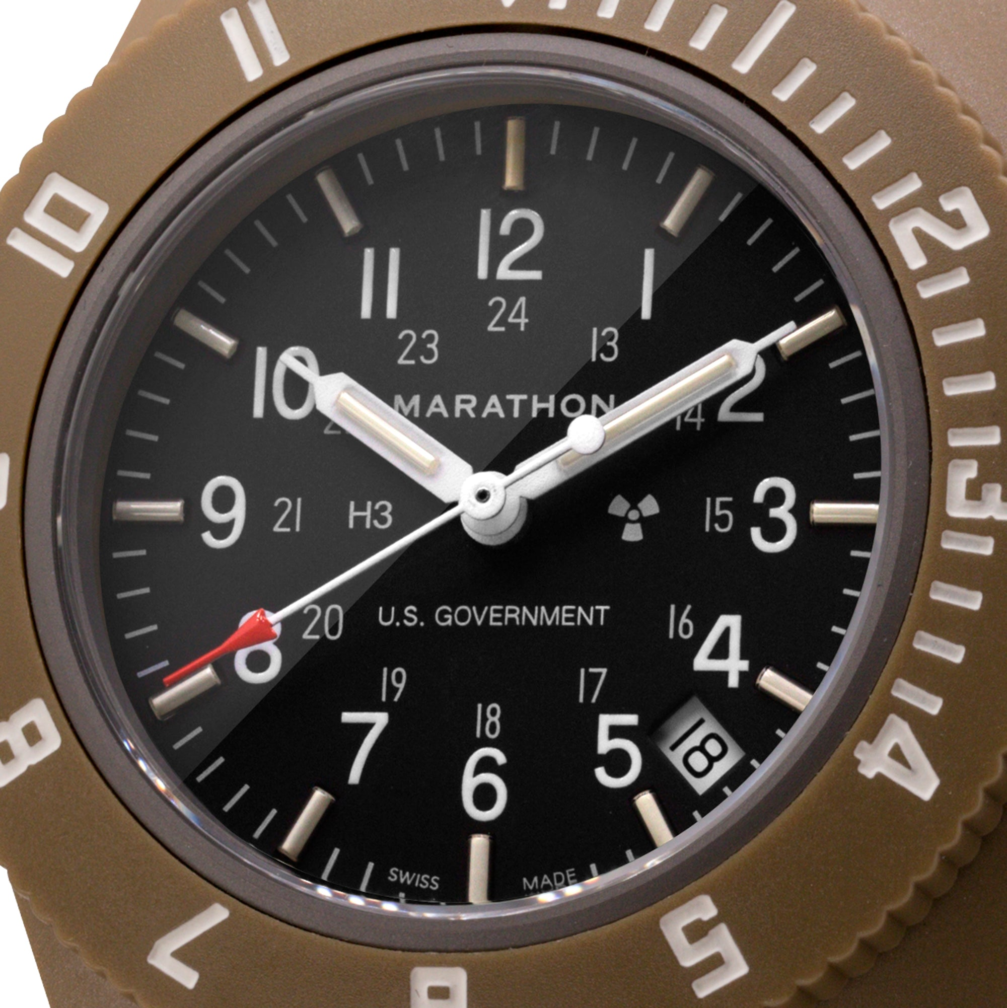 Desert Tan Pilot's Navigator with Date - US Government Markings - 41mm - marathonwatch