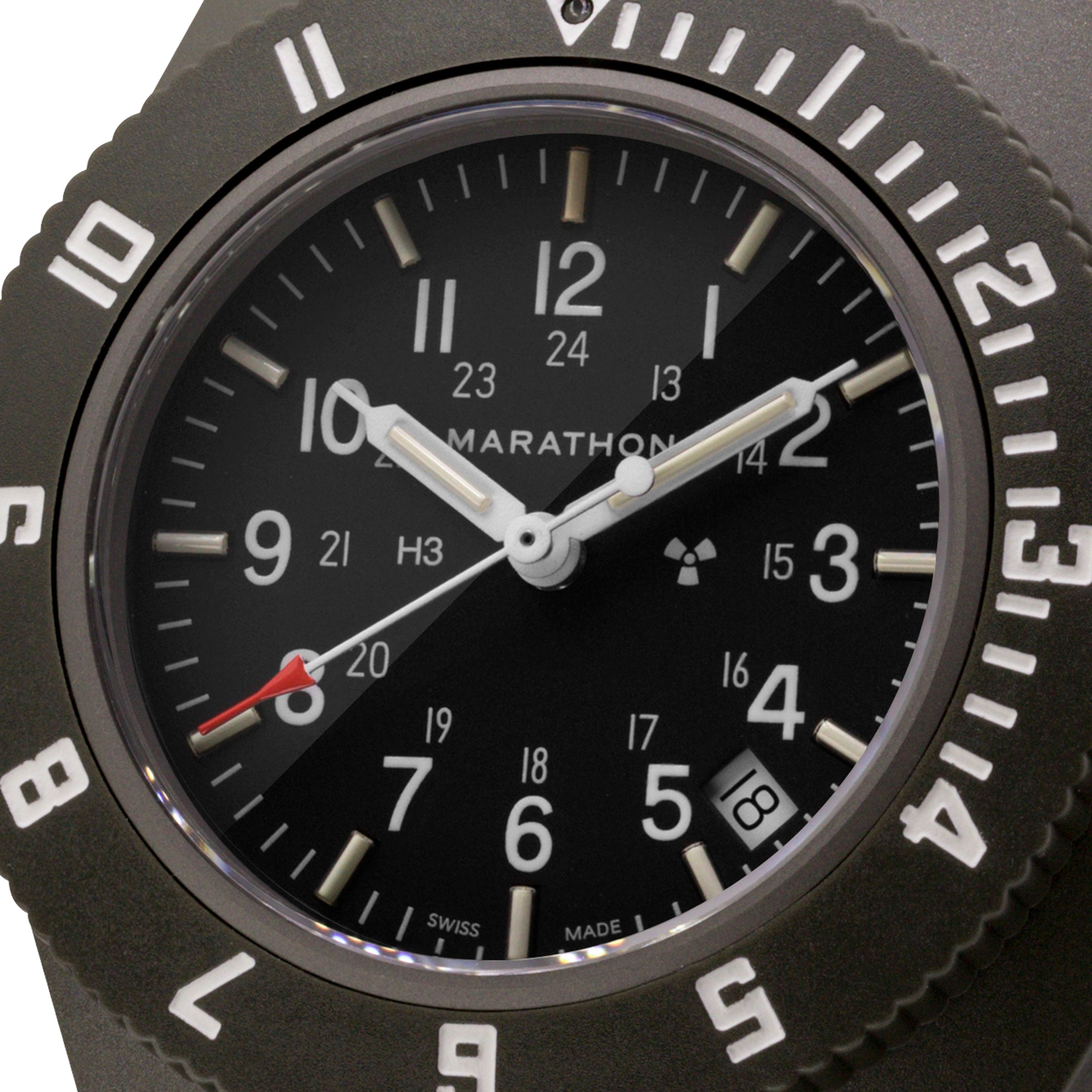 Sage Green Pilot's Navigator with Date - No Government Markings - 41mm - marathonwatch
