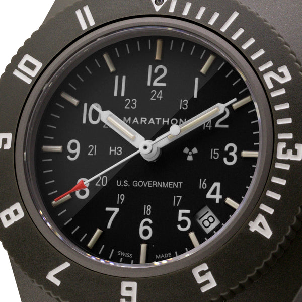 Sage Green Pilot's Navigator with Date - US Government Markings - 41mm - marathonwatch