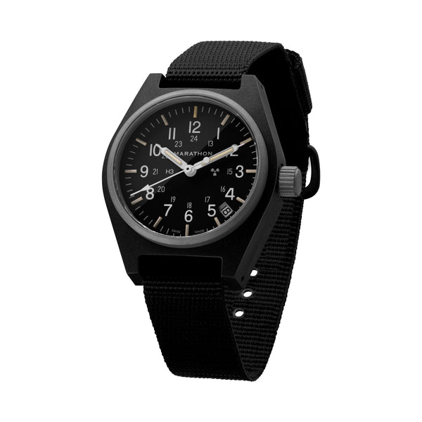 Black General Purpose Quartz with Date (GPQ) No Government Markings - 34mm - marathonwatch