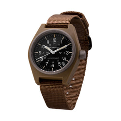 Desert Tan General Purpose Quartz with Date (GPQ) US Government Markings - 34mm - marathonwatch