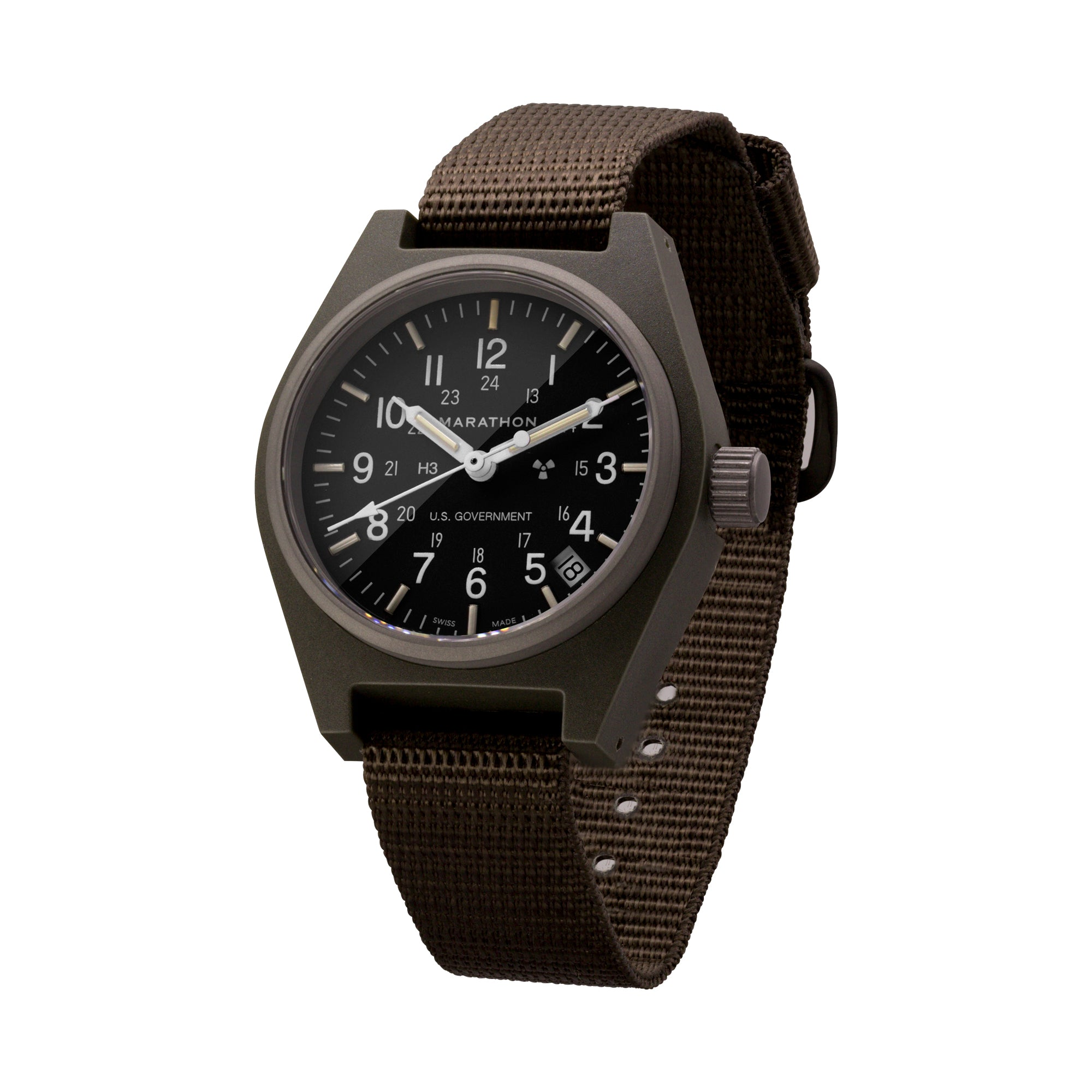 Sage Green General Purpose Quartz with Date (GPQ) US Government Markings - 34mm - marathonwatch