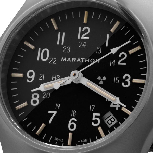 Re-Issue Stainless Steel General Purpose Quartz with Date (GPQ) No Gov't Markings - 39mm (Case-Crown) - marathonwatch