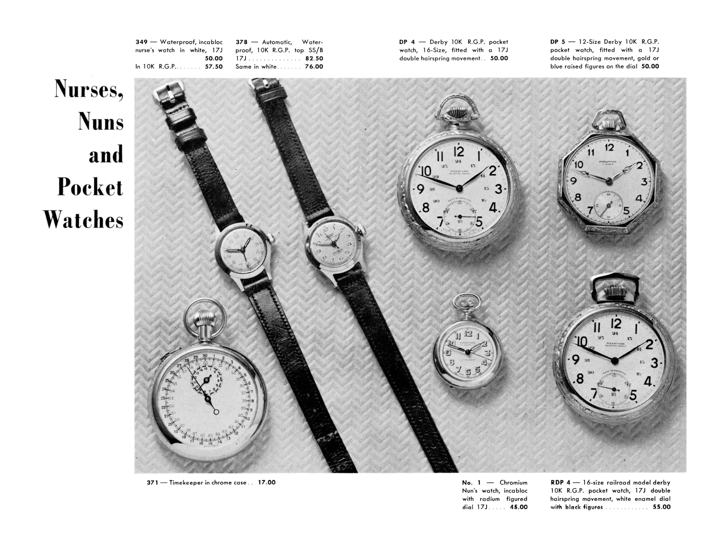 black and white ad: 'Nurses, Nuns and Pocket Watches' next to images of seven watches, both wrist and pocket