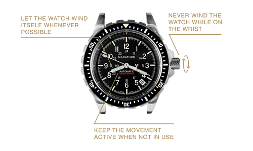 'Let the watch wind itself whenever possible' 'Never wind the watch while on the wrist' 'Keep the movement active when not in use'