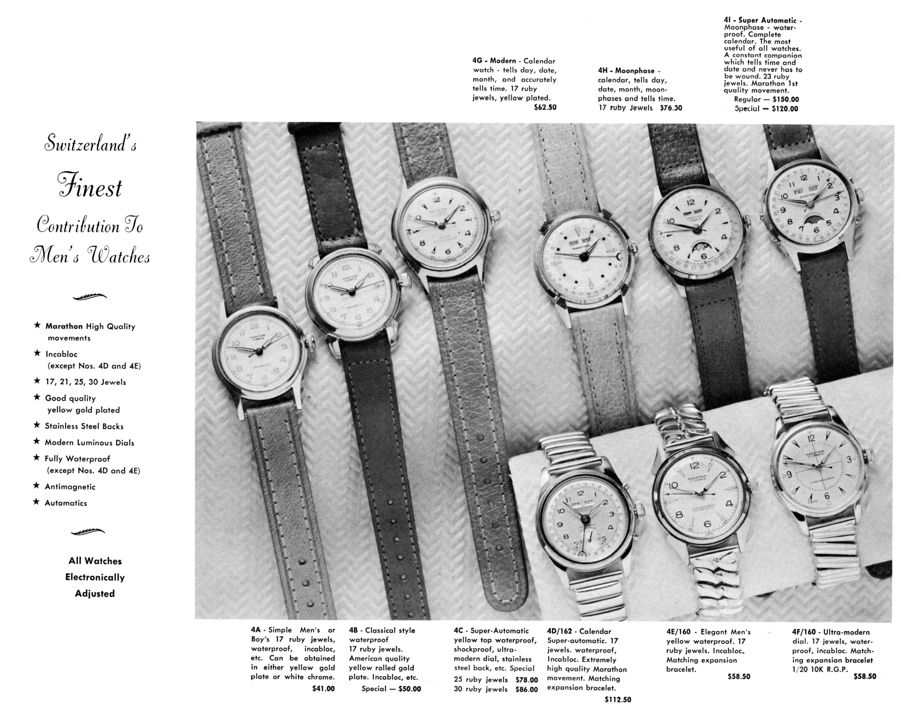 black and white ad: 'Switzerland's Finest Contribution to Men's Watches' next to images of nine watches