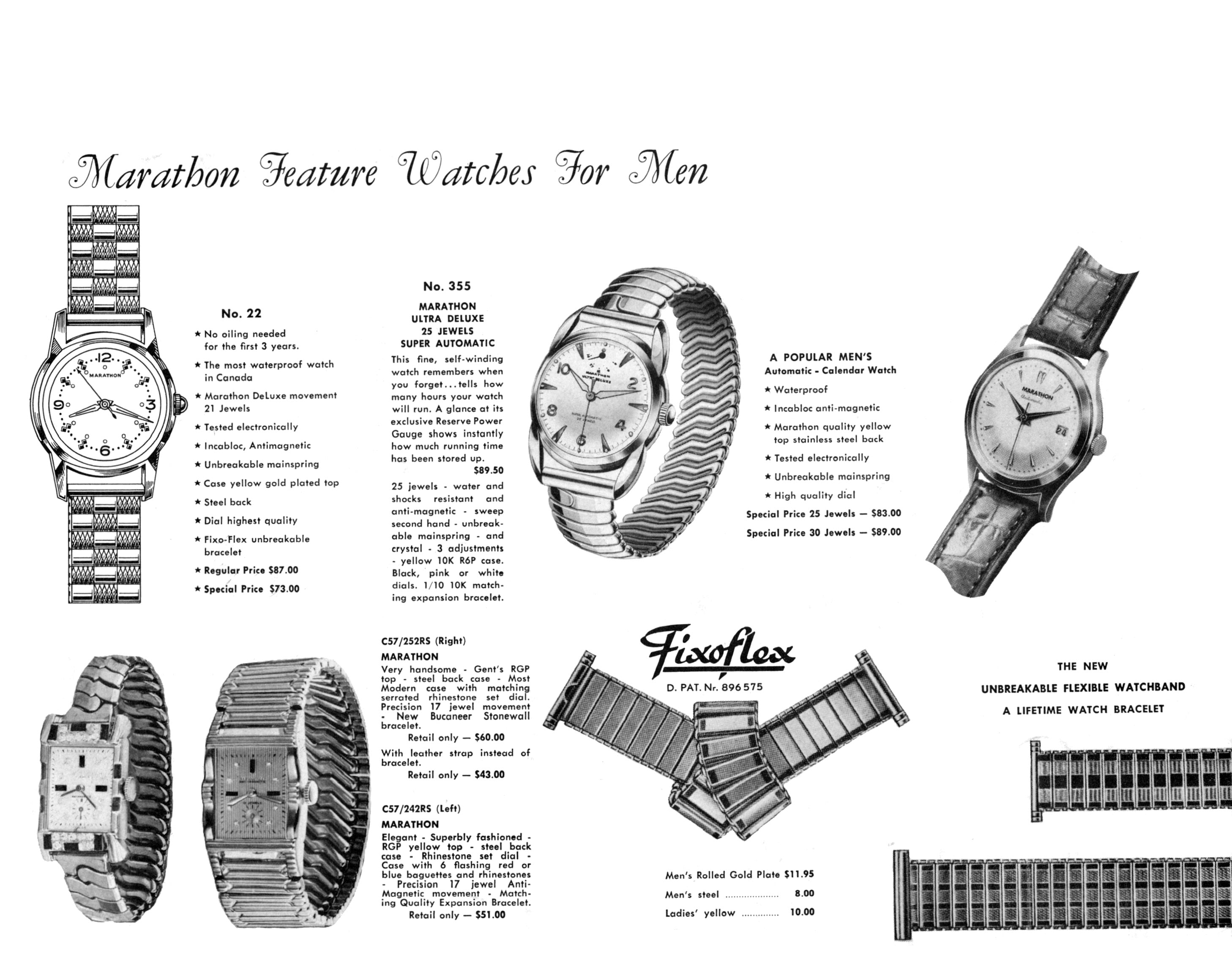 black and white ad: 'Marathon Feature Watches for Men' above images of five watches and three watch bands
