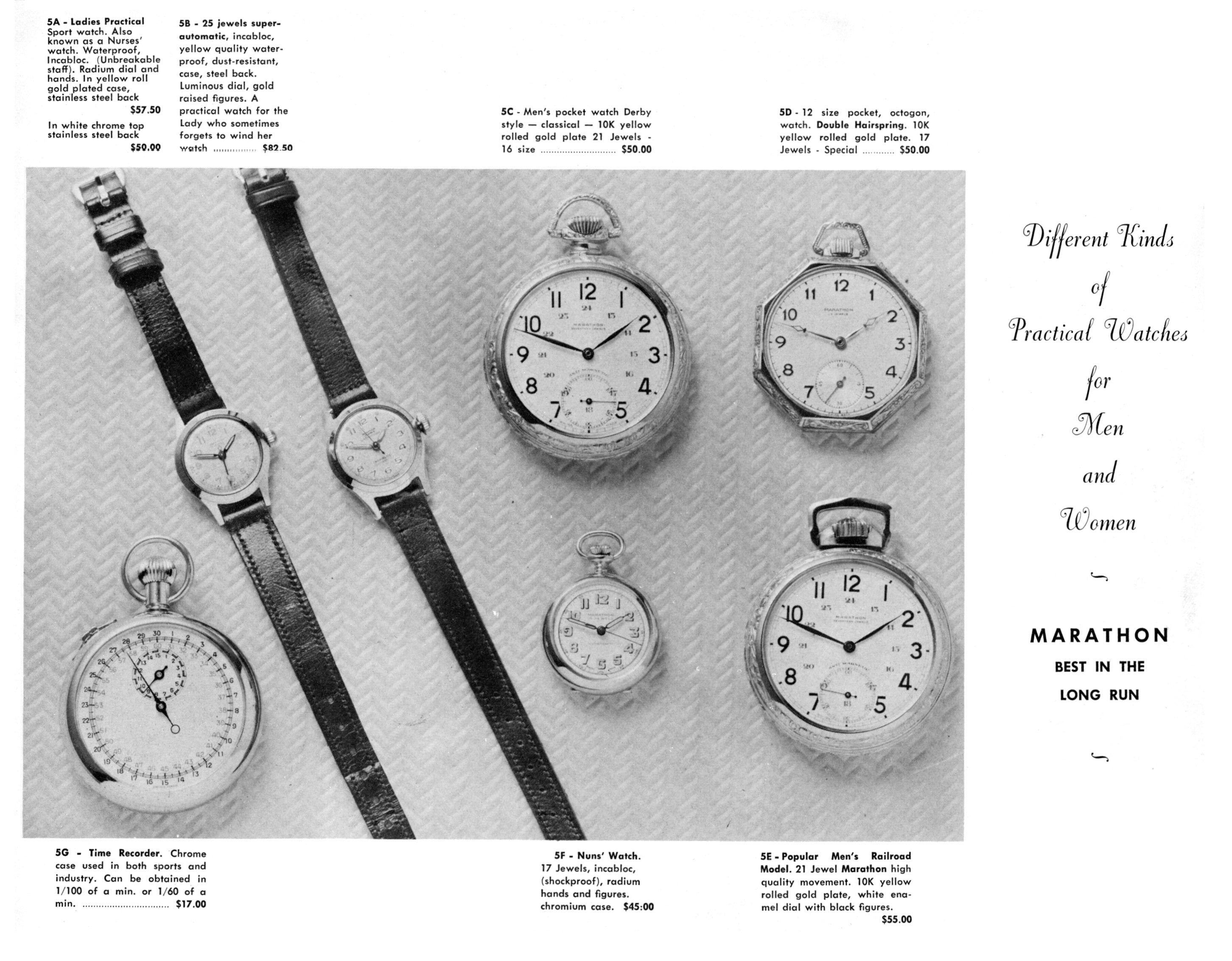 black and white ad: 'Different Kinds of Practical Watches for Men and Women. Marathon: Best in the long run' next to images of seven watches, both wrist and pocket