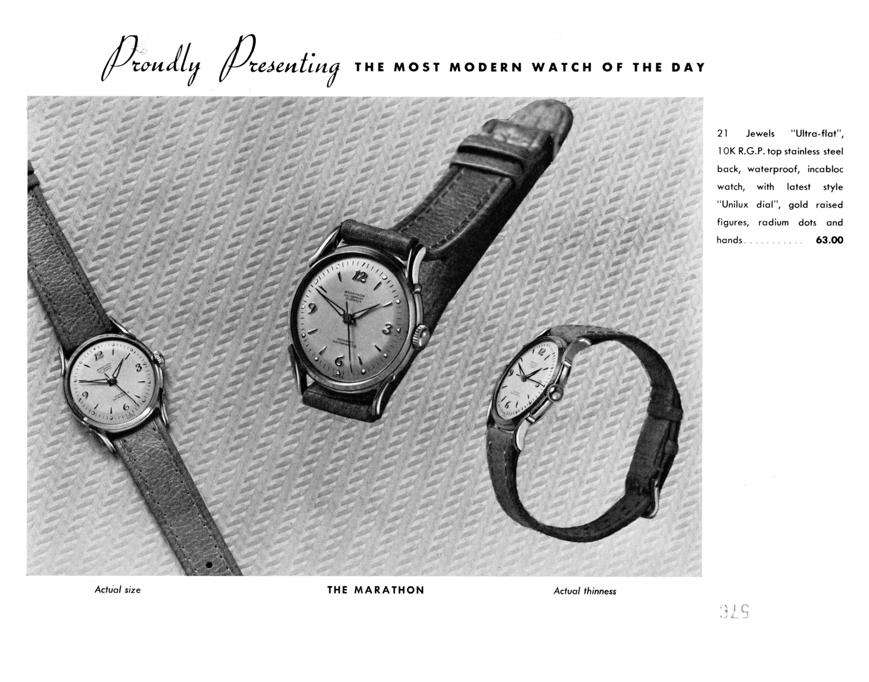 black and white ad: 'Proudly Presenting the most modern watch of the day' above images of three watches
