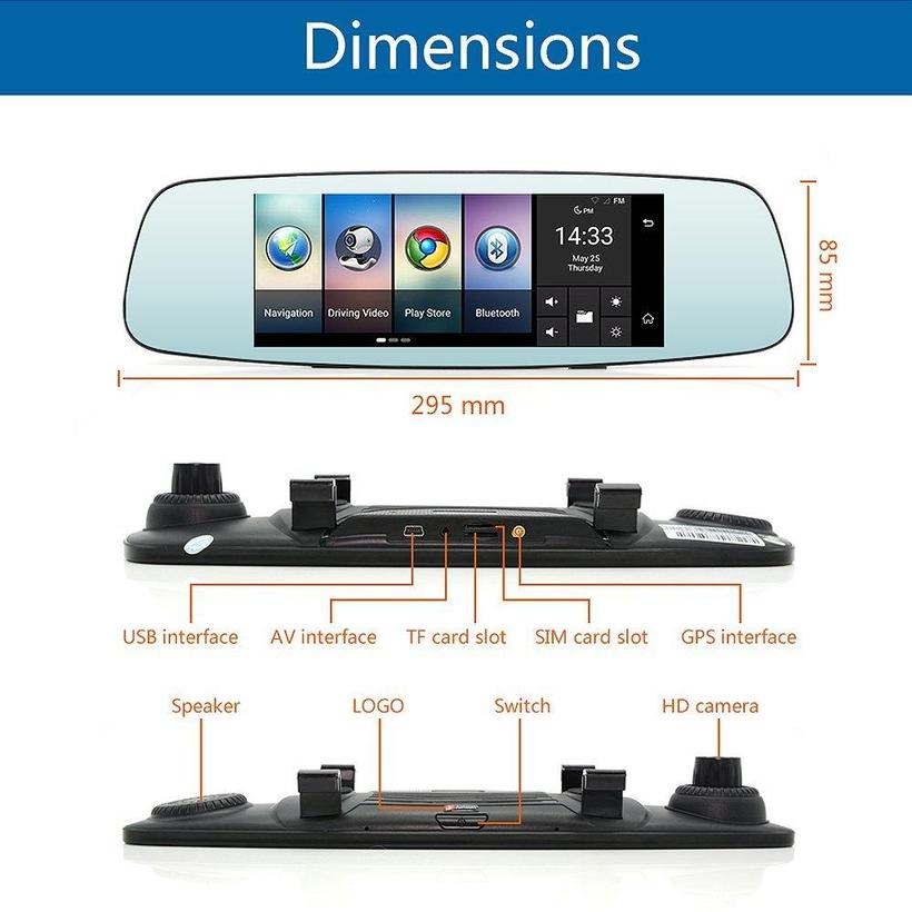 THE REVOLUTIONARY 4G Dash Cam Car Camera DVR GPS Bluetooth Dual Lens Rearview Mirror Video Recorder Full HD Automobile DVR Mirror