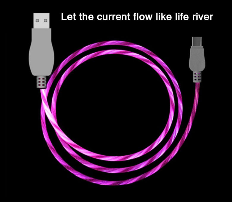 [Mobile Phone 360 Degree Light Visible Flowing Cables] Fast Charger Lightning to USB Cable Sync Data Corde for iPhone and Android Mobile Phone