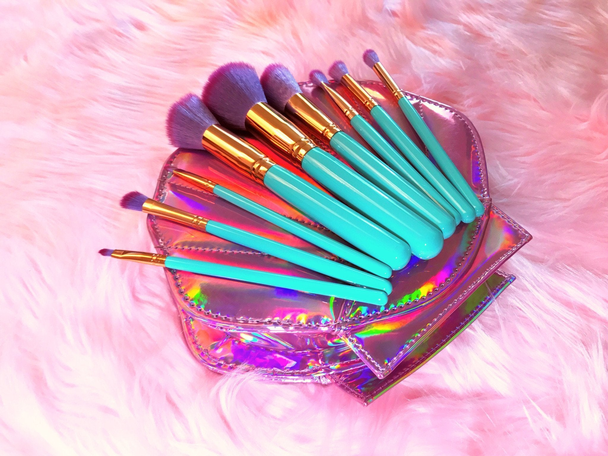 Mermaid Makeup Brushes - 10 Piece Set