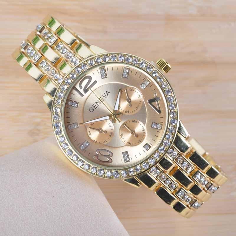 Rose Gold Color Rhinestone Watch - 80% Off