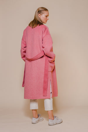 Pink Belted Wool Coat