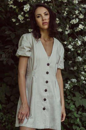 Midi Linen Dress with Buttons