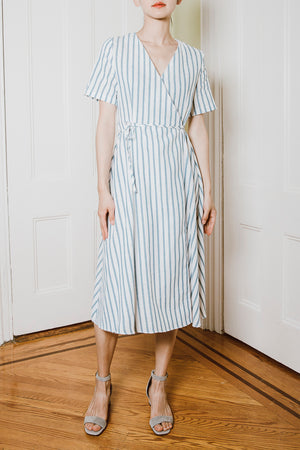 Boohoo Stripe Wrap Midi Dress