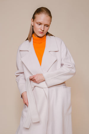 White Belted Wool Coat