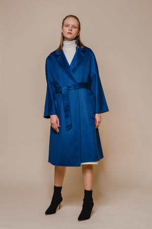Blue Belted Wool Coat With Zibeline Texture