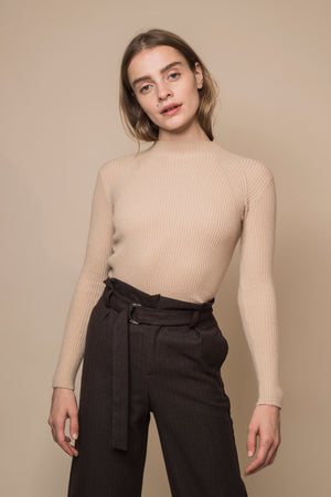 High Neck Ribbed Cashmere Sweater
