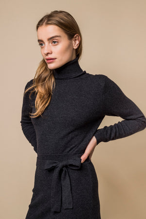 High-Neck Wool Dress w/ Belt