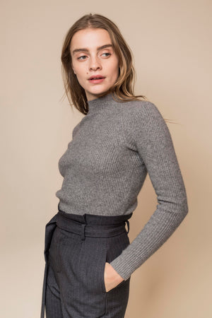 High-Neck Ribbed Cashmere Sweater